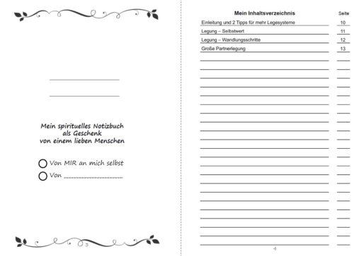 Legesysteme Tarot für deine Lebensberatung Notizbuch - Innenansicht Seite 3 und 4