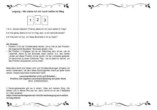 Lenormand Legesysteme für deine Lebensberatung Notizbuch - Innenansicht Seite 13 und 14