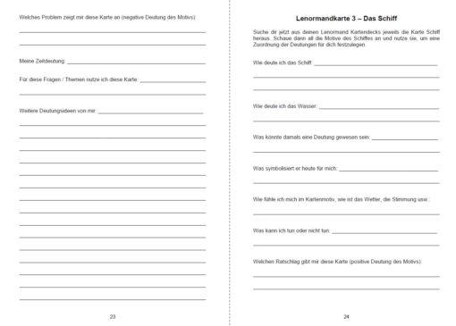 Lenormandkarten Funken - Innenansicht Seite 23 und 24